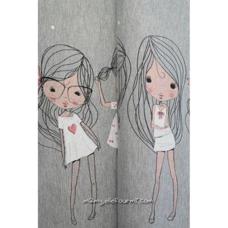 Jersey bordure girls gris blanc