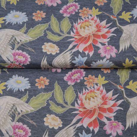 Jersey digital japanese flowers gris chiné foncé