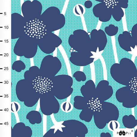 Jersey bio buttercup blueberry/turquoise
