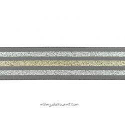 Élastique shorty rayé lurex gris