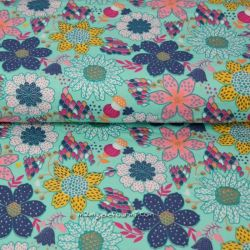 Jersey bright flowers turquoise