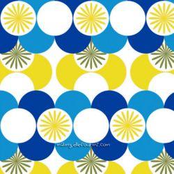 Coton géo jaune/turquoise