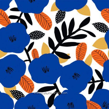 Coton fleurs indigo