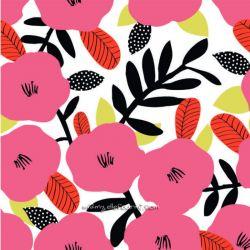 Coton fleurs rose