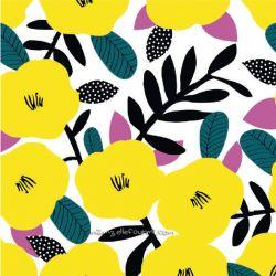 Coton fleurs jaune