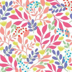 Coton ramage rose/vert