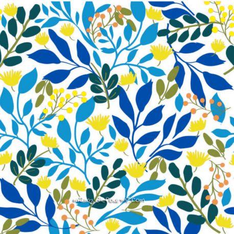 Coton ramage jaune/turquoise