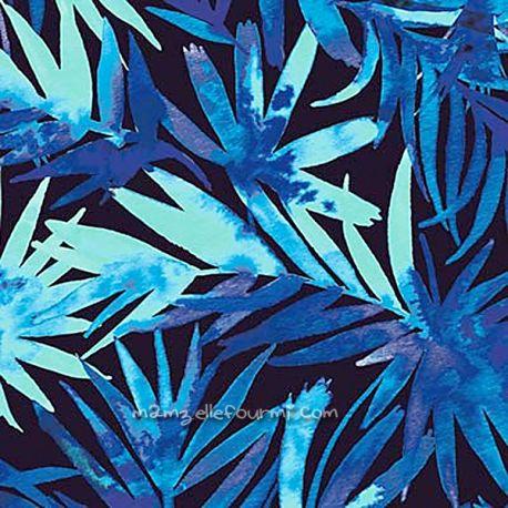 Microfibre polyester palms bleu