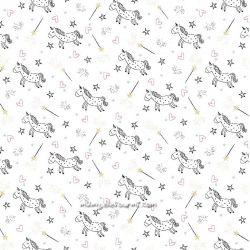 Jersey licornes glitter blanc/or