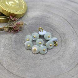 Bouton Atelier Brunette jewel 9 mm sage
