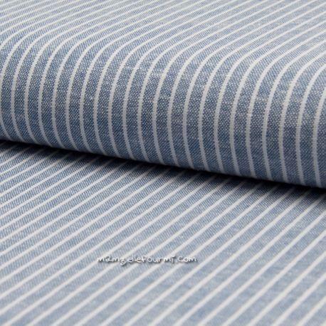 Lin/viscose rayé bleu jean