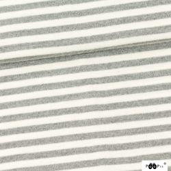 Laine mérinos rayée gris/écru