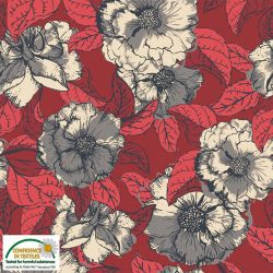 Jersey floral gris/rouge