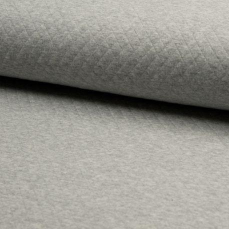 Matelassé coton gris chiné