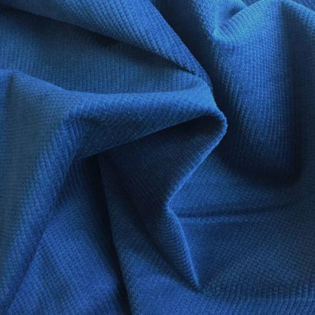Velours texturé stretch indigo