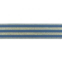 Élastique 40mm rayé lurex or bleu jean
