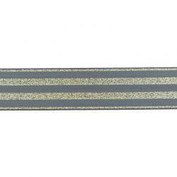Élastique 40mm rayé lurex or gris foncé
