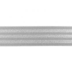 Élastique 40 mm rayé lurex argent gris