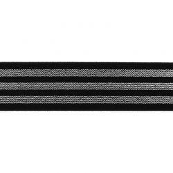 Élastique 40 mm rayé lurex argent noir