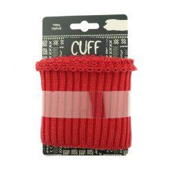 Cuff grosses côtes lurex rouge