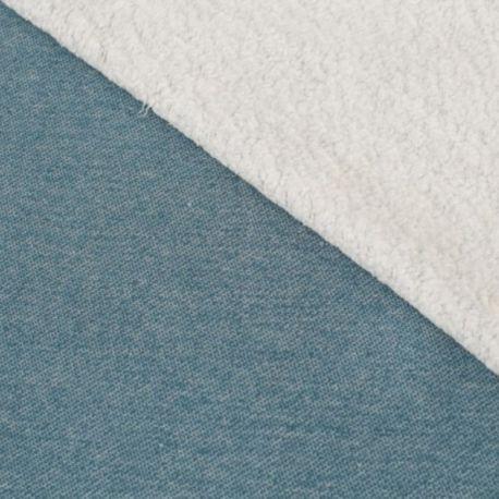 Sweat bio sherpa gris/bleu
