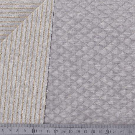 Matelassé coton double face gris chiné/doré