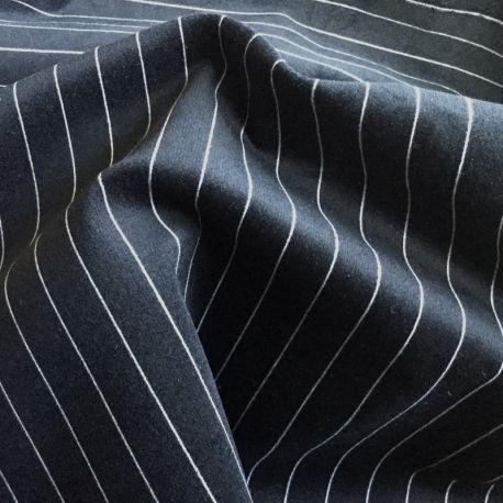 Velours lisse stretch noir rayé blanc
