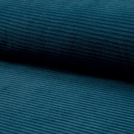 Jersey velours côtelé pétrole