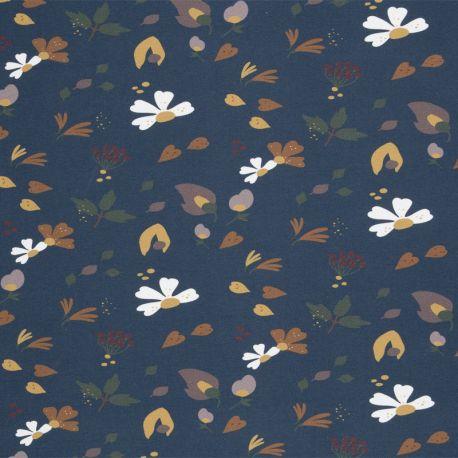 Molleton fleurs d'automne pétrole