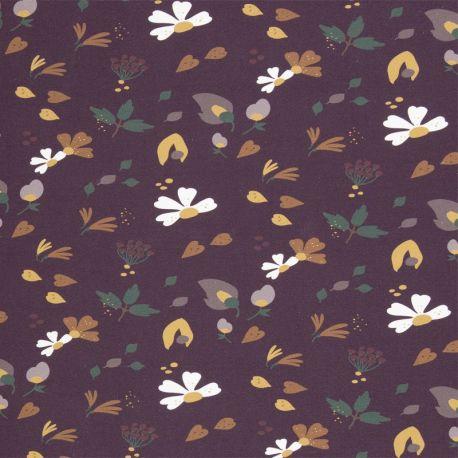 Molleton fleurs d'automne prune