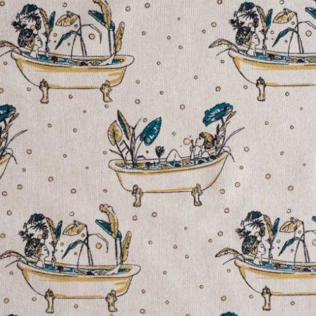 Toile canvas gold bathtub paradise
