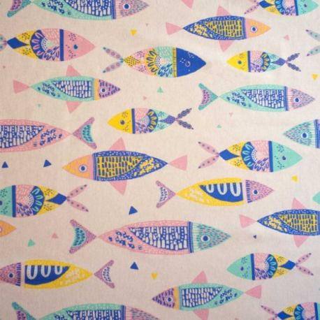 Toile canvas color fishes