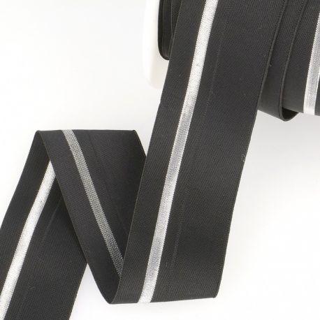 Élastique cavalier noir/argent - 40 mm
