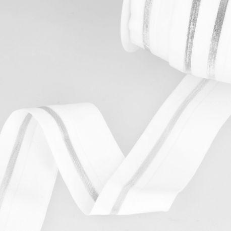 Élastique cavalier blanc/argent - 40 mm