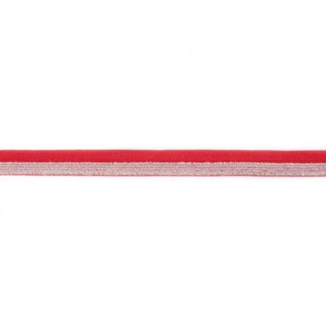 Biais élastique glitter bicolore rouge/argent