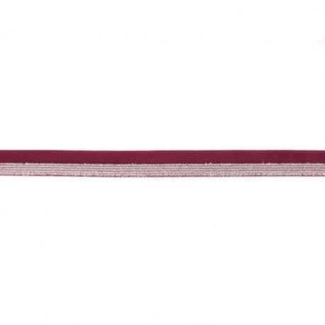 Biais élastique glitter bicolore bordeaux/argent