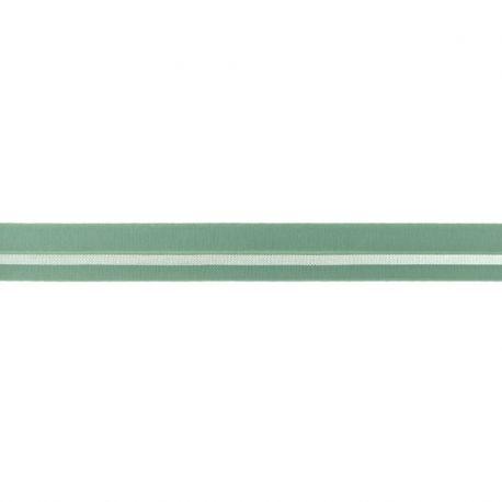Biais élastique préplié ligne argent vert