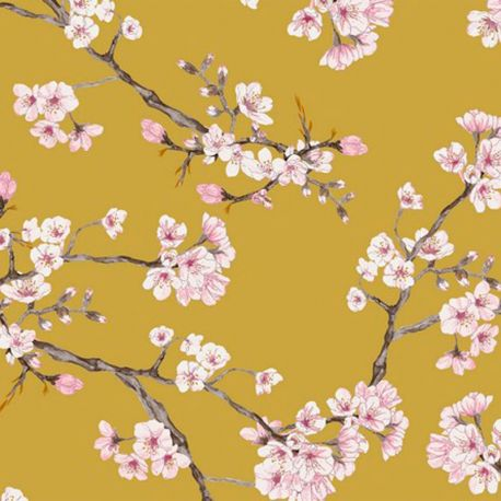 Viscose stretch cherry blossom moutarde