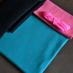 Kit Éternité Variante 1 grande taille pois rose sur turquoise