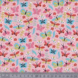 Popeline summer papillons rose