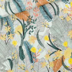 Viscose tropic flowers