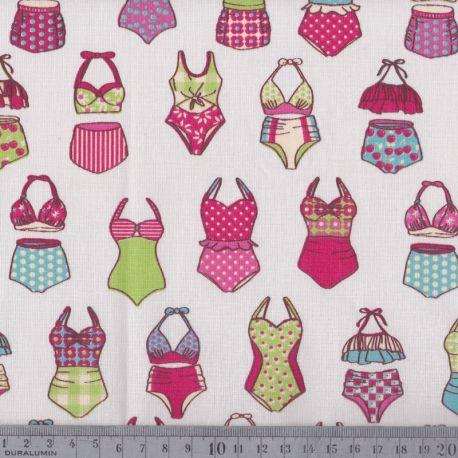 Cretonne maillots de bain rose