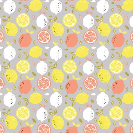 Popeline fresh lemon gris clair