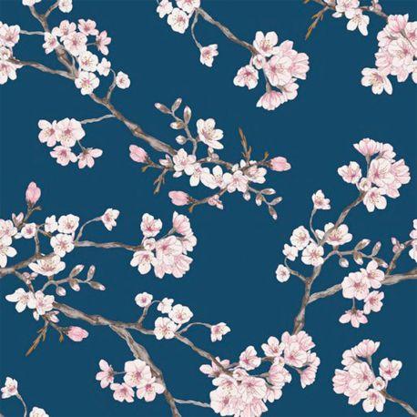 Viscose stretch cherry blossom marine