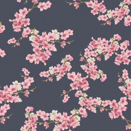 Molleton bio cherry blossom marine