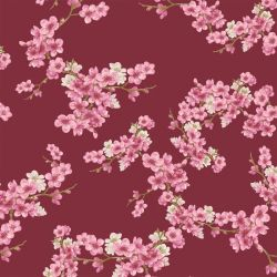Molleton bio cherry blossom bordeaux