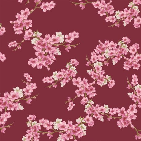 Molleton bio cherry blossom bordeaux