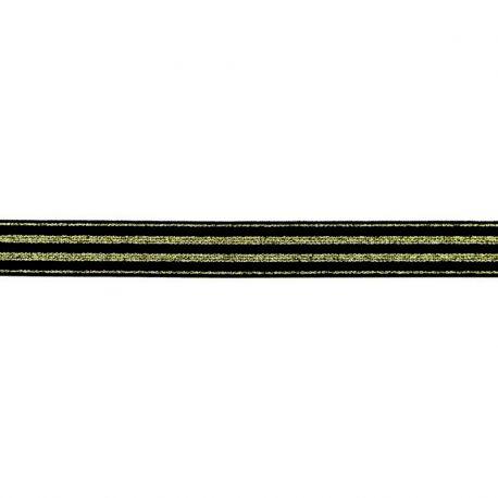 Élastique 20mm noir rayé lurex or