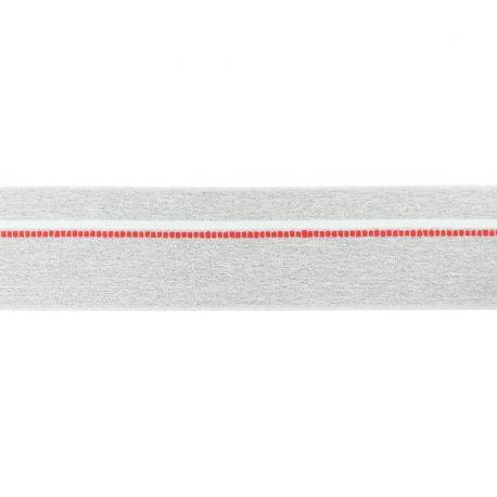 Élastique shorty chiné gris clair pointillés rouge