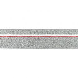 Élastique shorty chiné gris moyen pointillés rouge